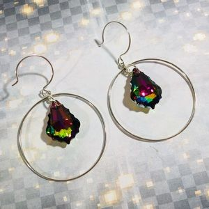OOAK Sterling Swarovski Vitrial Crystal earrings